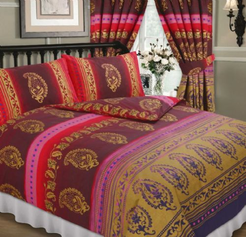 FUSCHIA PINK COLOUR PAISLEY DESIGN REVERSIBLE BEDDING DUVET QUILT COVER SET